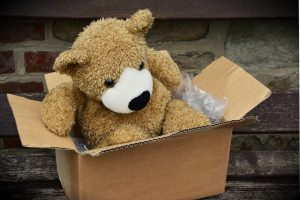 A teddy bear inside a cardboard moving box.