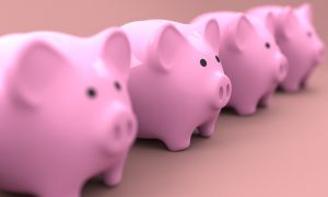 A row of piggy banks.