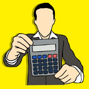 A man holding the calculator.