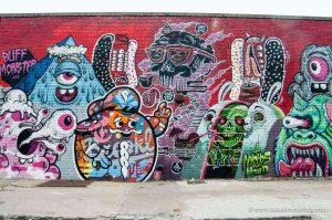 Graffiti on the wall.