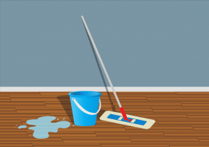 A drawing of a mop and a bucket.