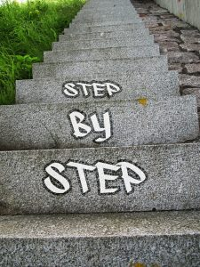 stairs with step by step message