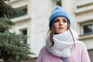 A girl in winter clothing.