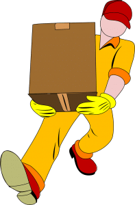 man carrying box to avoid damaging floors when moving