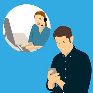 Cartoon man booking his apartment with a call center girl