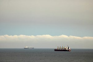 two ship freighters on the sea