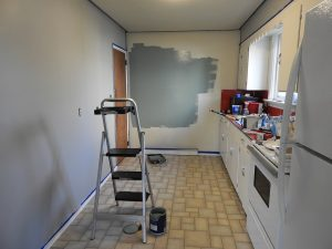 A kitchen being remodeled