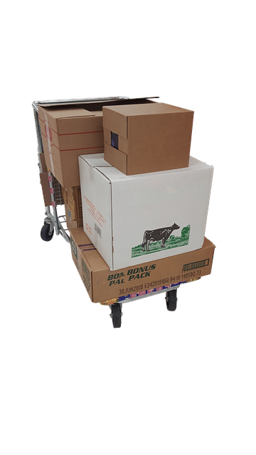 Boxes on trolley