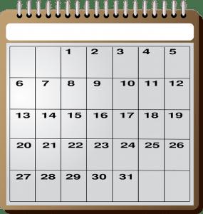 calendar for short term storage guide