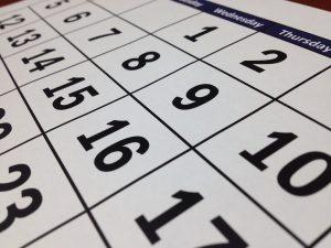 A calendar used to plan Moving during Thanksgiving season